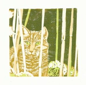 Cat#1 Lino cut