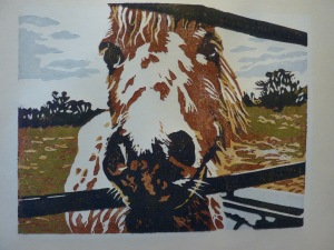 'The Lookout'. Lino cut