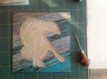 Cutting out the first floorboard lines, after the first solid colour was printed